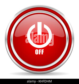 Power off red silver metallic chrome border web and mobile phone icon on white background with shadow - Stock Photo