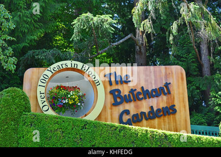 VICTORIA, BC - AUGUST 23: The sign of the butchart gardens on August 23, 2014 in Victoria. Butchart gardens is a - Stock Photo