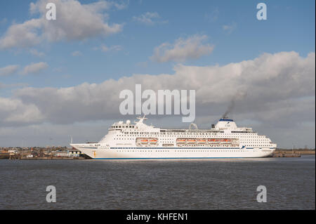 63,786-ton cruise liner MV Columbus on bright windy day at Tilbury Docks - Stock Photo