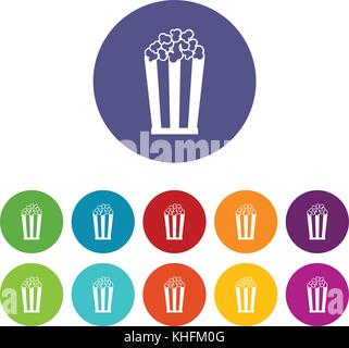 Popcorn in striped bucket set icons - Stock Photo