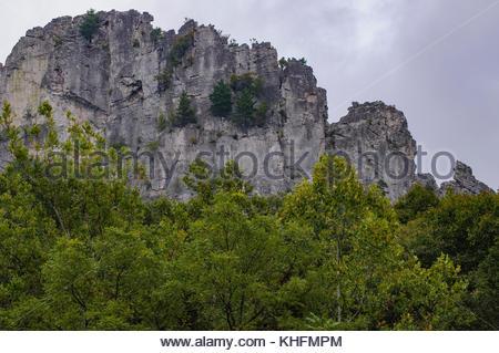 Detail of rock face at Seneca Rocks, Monongahela National Forest, West Virginia, USA - Stock Photo