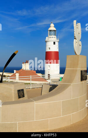 Sikorski Memorial & Europa Point Lighthouse, Gibraltar, United Kingdom, Europe - Stock Photo