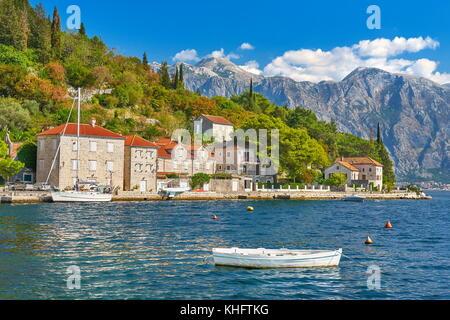 Perast balkan village mountain landscape, Kotor Bay, Montenegro - Stock Photo