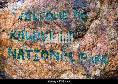 Entrance note in Kaudulla National Park, Sri Lanka - Stock Photo