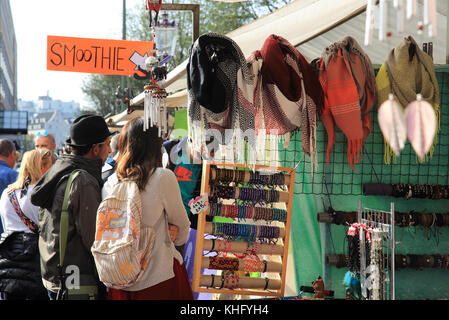 The popular, bustling Waterlooplein flea market, in Amsterdam, in the Netherlands, North Europe - Stock Photo