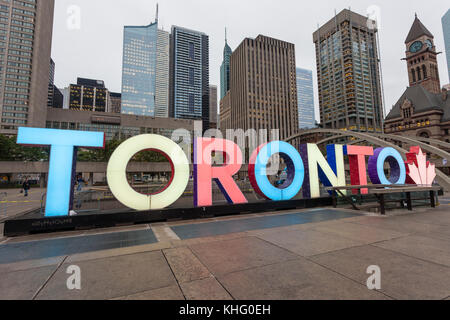 Toronto, Canada - Oct 13, 2017: Colorful illuminated Toronto sign at the Nathan Phillips Square in Toronto, Canada - Stock Photo