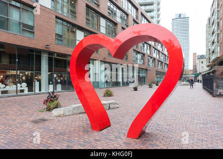 Toronto, Canada - Oct 13, 2017: Red hearth at the historic distillery district in Toronto. Province of Ontario, - Stock Photo