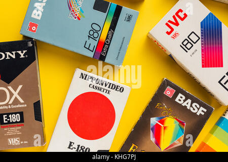 NOVI SAD, SERBIA - NOVEMBER 6, 2017: Various VHS video cassettes. Video Home System, consumer-level analog video - Stock Photo