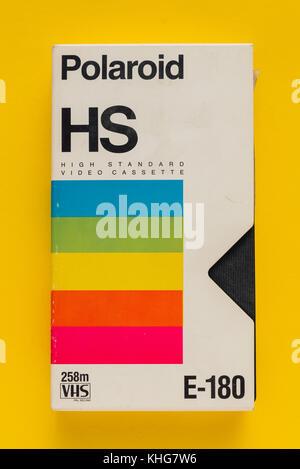 NOVI SAD, SERBIA - NOVEMBER 6, 2017: Polaroid VHS video cassette. Video Home System, recording tape cassettes was - Stock Photo