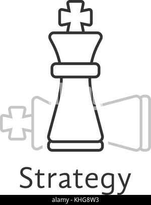 strategy with thin line chess king - Stock Photo
