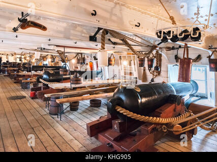 Gundeck on HMS Warrior, the first ocean going ironclad steam frigate in the Royal Navy, Portsmouth Historic Dockyard, - Stock Photo