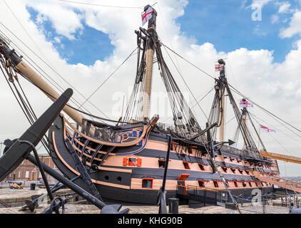 HMS Victory, Nelson's flagship at the Battle of Trafalgar, Portsmouth Historic Dockyard, Hampshire, England, UK - Stock Photo