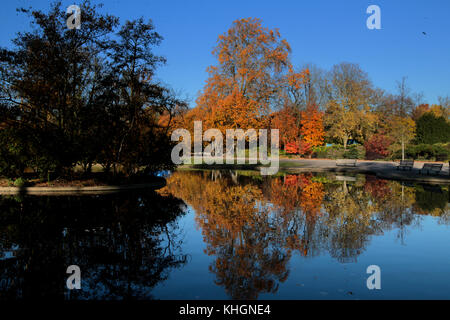 London, UK. 17th Nov, 2017. Regents park showing off the autumn colours in a cold and crisp day in LondonCredit: - Stock Photo