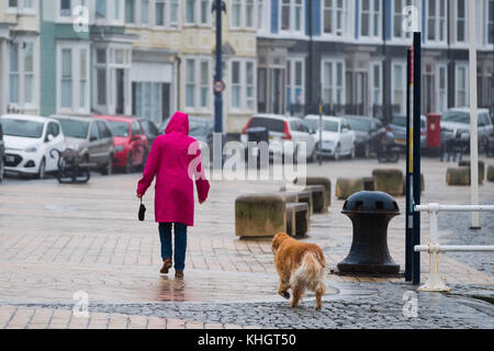 Aberystwyth  Wales UK, Saturday 18 Novemberr 2017  UK Weather: A woman walking with her dog  on the promenade on - Stock Photo