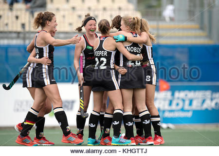 Auckland, New Zealand. 18th Nov, 2017. The German players cheer over their first score during the women's hockey - Stock Photo