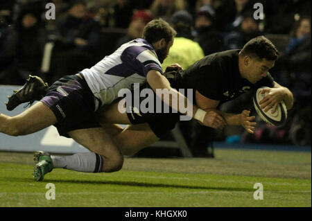 Edinburgh, UK. 18th Nov, 2017.  Scotland v New Zealand at Bt Murrayfield. Pictured Codie Taylor scores New Zealand's - Stock Photo