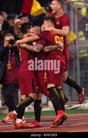 Rome, Italy. 18th Nov, 2017. (L-R) Diego Perotti, Radja Nainggolan, Stephan El Shaarawy, Edin Dzeko (Roma) Football/Soccer - Stock Photo