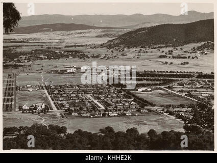 The view from Mount Ainslie, Canberra, 1930s - Stock Photo