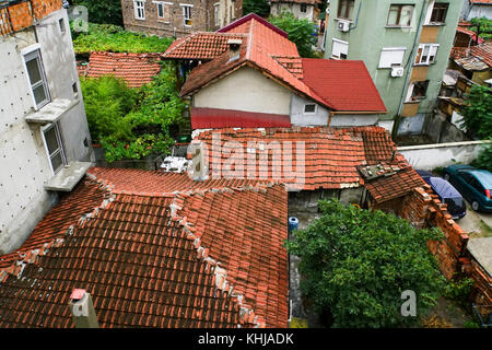 Bulgaria, Plovdiv, red tiled rooftops in the historic Old Town - Stock Photo