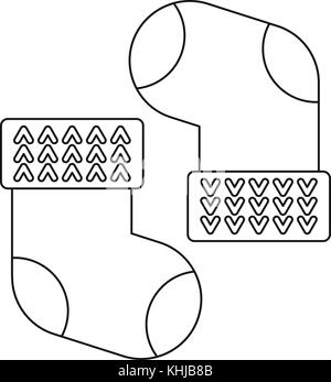 Baby cotton socks icon, outline style - Stock Photo