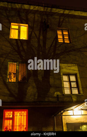 Silhouette of tree on facade of residential three-storey house at night. - Stock Photo