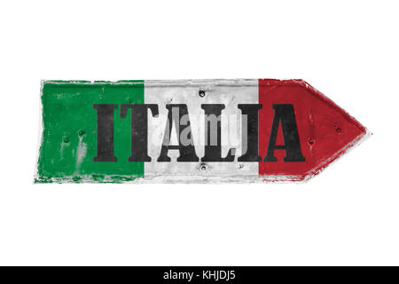 Italia (Italy in Italian) with colors green, white and red painted over arrow shape from a rusty and grunge metal - Stock Photo