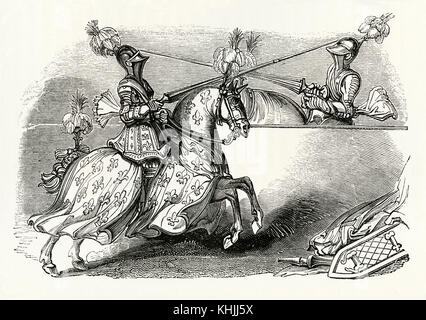 An old engraving depicting two knights jousting in Medieval times. Jousting is a contest between two horsemen wearing - Stock Photo