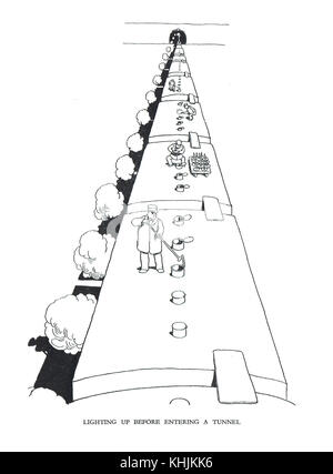 Lighting up before entering a tunnel, Cartoon by William Heath Robinson - Stock Photo