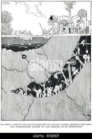 Excavating the Severn Railway Tunnel, Cartoon by William Heath Robinson - Stock Photo