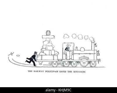 Railway Policeman saves the situation, Cartoon by William Heath Robinson - Stock Photo