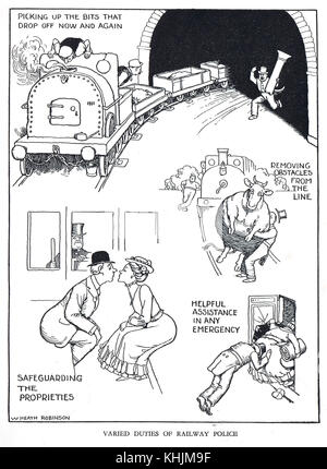 Varied Duties of Railway Police, Cartoon by William Heath Robinson - Stock Photo