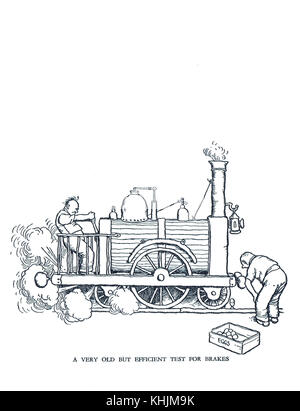 A Very old but efficient test for brakes, Cartoon by William Heath Robinson - Stock Photo