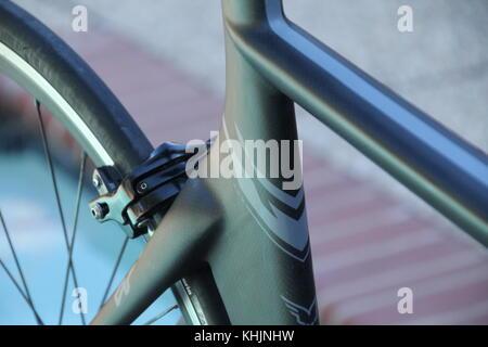 Close up of Aero Carbon bike frame detail - Stock Photo