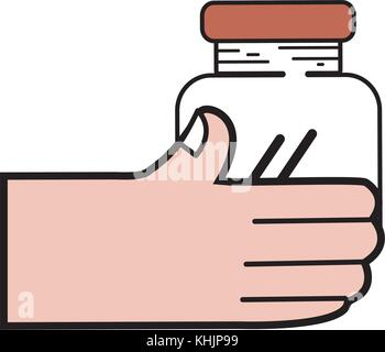 hand with crystal jar to save things vector illustration - Stock Photo
