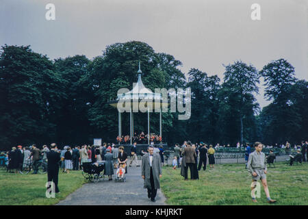 Scotts Guards Military Band playing in Kensington Gardens Bandstand, West London on 15/0756 - Stock Photo