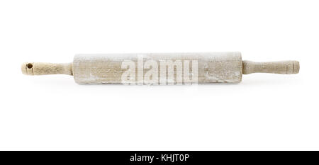 Old wooden rolling pin dusted with white flour and isolated over a white background. Light shadow below rolling - Stock Photo