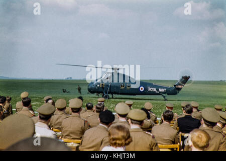 Royal Navy Westland Wessex Helicopter HC.2used in a training display Image circa 1960 - Stock Photo