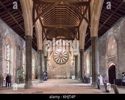 The Winchester Round Table in the Great Hall, all that remains of the original Winchester Castle, Winchester, Hampshire, - Stock Photo