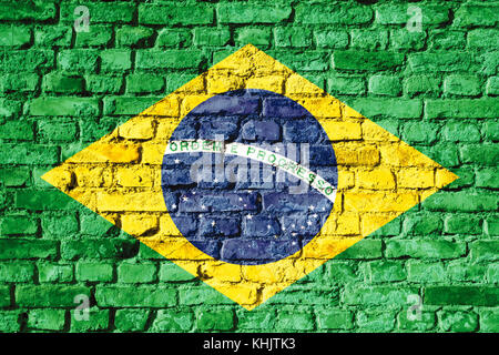 An image of the Brazil flag painted on a brick wall in an urban ...