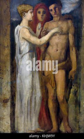 Le fil d'Ariane - The Ariadne's thread  1889 Henri Cros 1840-1907 French, France. (  Ariadne in Greek mythology - Stock Photo