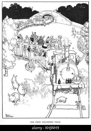 The First Excursion train, Cartoon by William Heath Robinson - Stock Photo