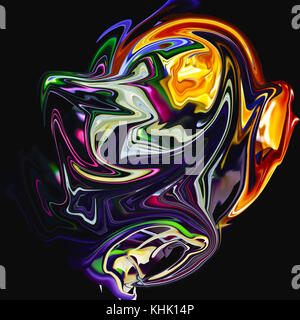 Original creative multicolored abstraction on black background - Stock Photo