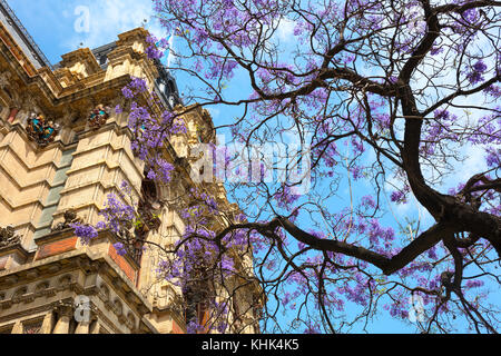 The 'Palacio de Aguas Corrientes' (Water Company Palace) in springtime. Buenos Aires, Argentina. - Stock Photo