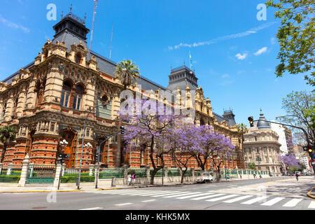 The 'Palacio de Aguas Corrientes' (Water Company Palace) in springtime. Buenos Aires, Argentina. - Stock Photo
