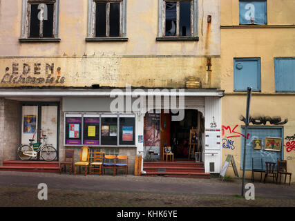 derelict cinema Lubeck Germany now selling antiques - Stock Photo