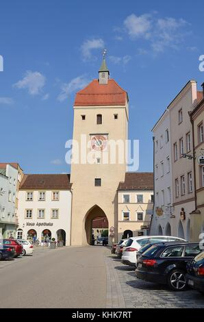 Neuötting in Bavaria: medieval city gate - Stock Photo