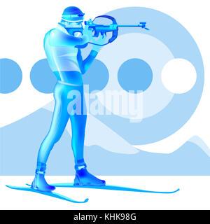Colorful biathlonist. Shooting in aim. Vector illustration. - Stock Photo