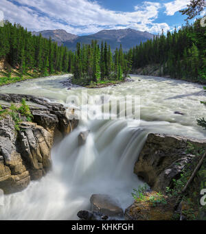 Sunwapta falls in Jasper National Park, Alberta, Canada - Stock Photo