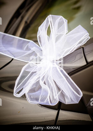 Wedding Car Decorations Close Up Detail In Italy Stock Photo