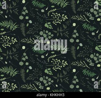 Seamless pattern of Eucalyptus palm fern different tree, foliage natural branches, green leaves herbs berries tropical - Stock Photo
